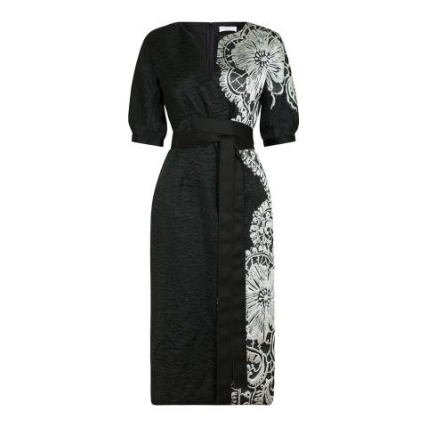 Amanda Wakeley Black/Multi Sheer Cloque Jacquard Shift Dress