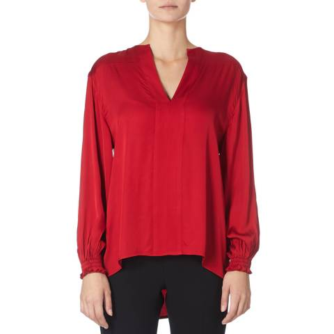 Amanda Wakeley Lipstick Soft Long Sleeve Viscose Satin Top