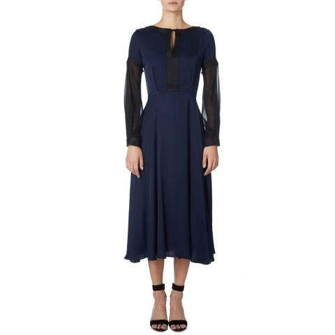 Amanda Wakeley Midnight Midi Flare Viscose Satin Dress