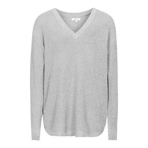 Reiss Silver Bless V-Neck Jumper