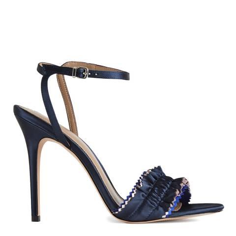 Reiss Navy Rafaella Satin Ruffle Heeled Sandal