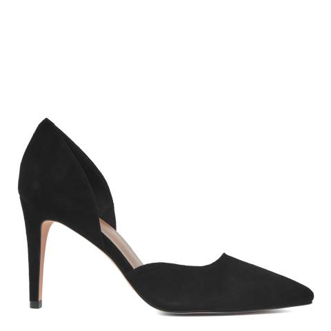 Reiss Black Lawrence Curved Suede Heel