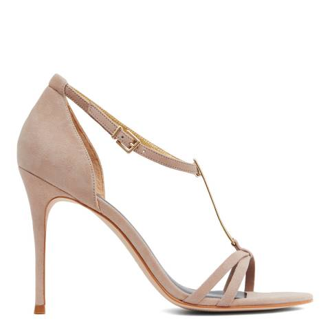 Reiss Beige Ariana T Bar Heeled Sandal