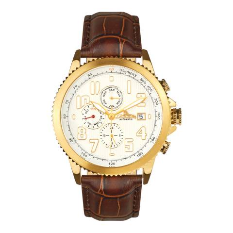 Richtenburg Men's Brown Leather Rose Gold Watch