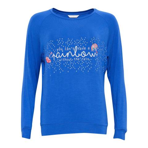 Cyberjammies Cristie Long Sleeve Royal Blue Placement Print Knit Pyjama Top