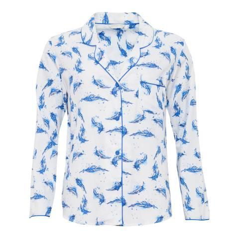 Cyberjammies Amelia Woven Long Sleeve Feather Print Pyjama Top