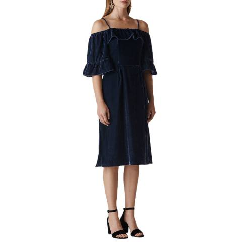WHISTLES Navy Bardot Dress