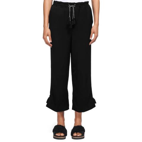 WHISTLES Black Boho Trim Trousers
