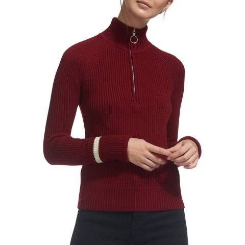 WHISTLES Red Ribbed Wool Jumper