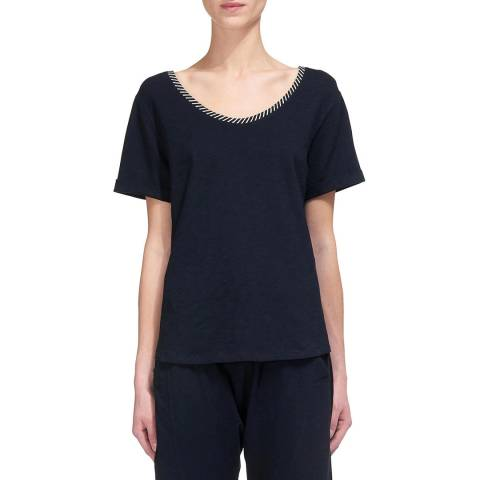 WHISTLES Navy Cut Out Cotton T-shirt