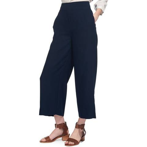 WHISTLES Navy Stitch Crop Trousers