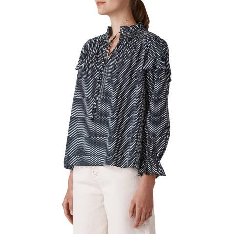 WHISTLES Navy Millie Tie Neck Blouse