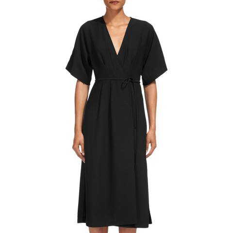 WHISTLES Black Marta Wrap Dress