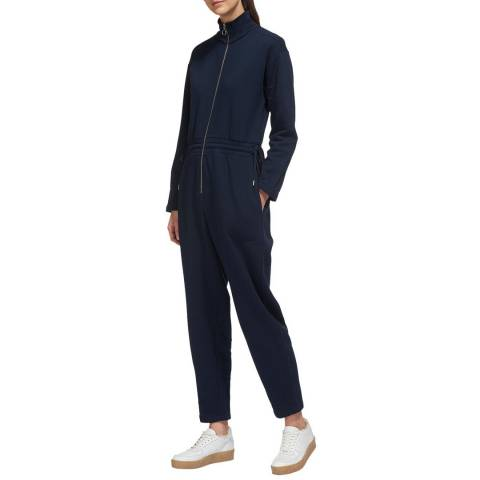 WHISTLES Navy Ring Pull Cotton Jumpsuit