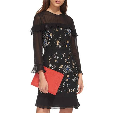 WHISTLES Black Nancy Embellished Dress