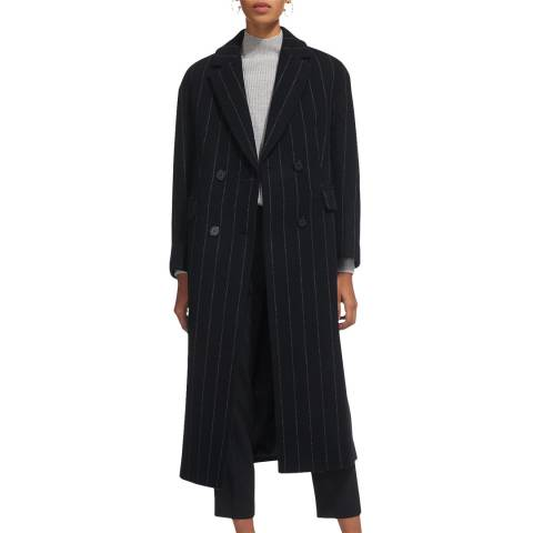 WHISTLES Navy Stripe Double Breasted Coat