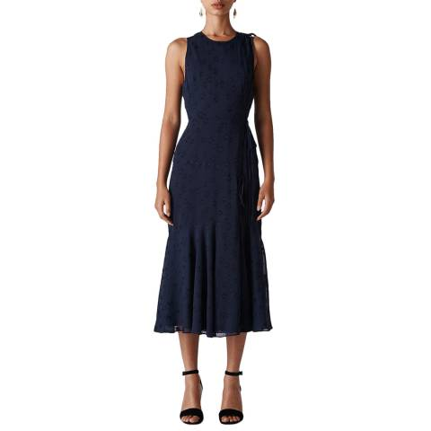 WHISTLES Navy Adriane Star Jacquard Dress