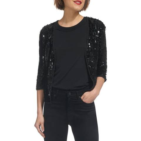 WHISTLES Black Sequin Jacket