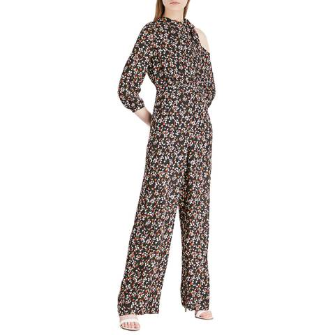 WHISTLES Black/Floral Silk Jumpsuit