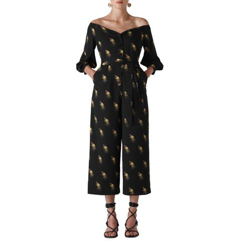 WHISTLES Black/Multi Woodpecker Jumpsuit