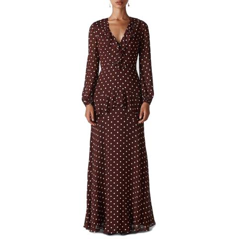 WHISTLES Burgundy Desiree Frill Maxi Dress