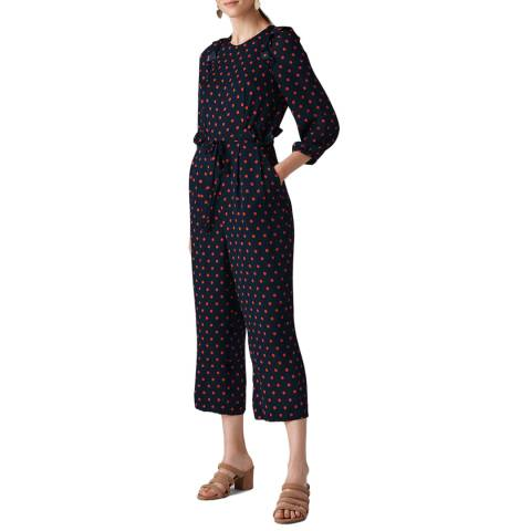 WHISTLES Black Spot Precilla Silk Jumpsuit