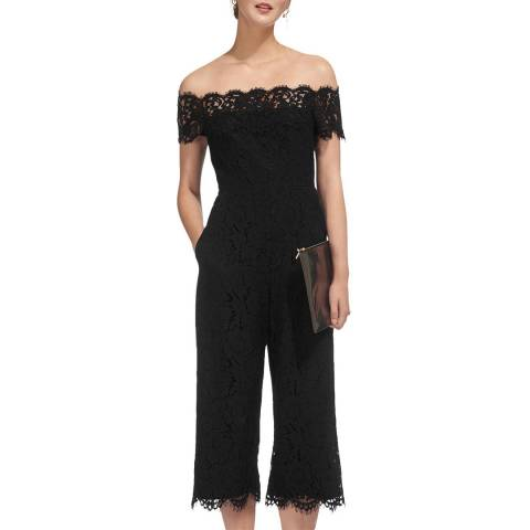 WHISTLES Black Off Shoulder Lace Jumpsuit