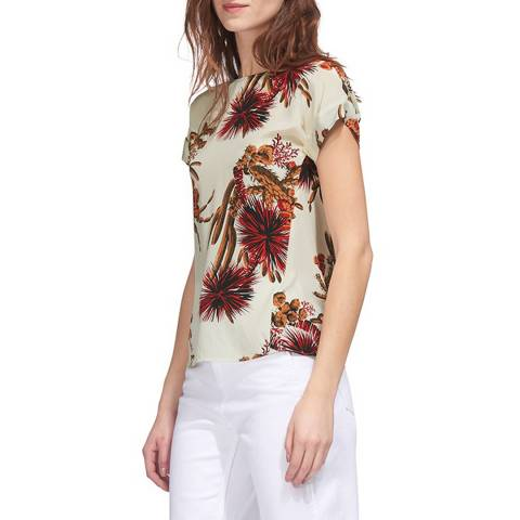 WHISTLES Cream Cactus Print Silk Top