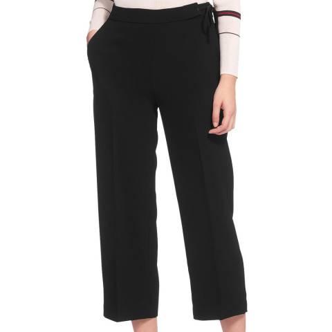 WHISTLES Black Crop Tie Side Trousers