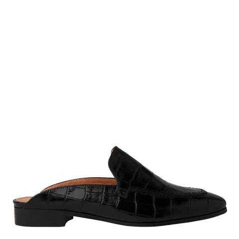 WHISTLES Black Shearling Lister Backless Shoe