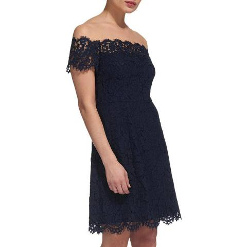 WHISTLES Navy Off Shoulder Lace Dress