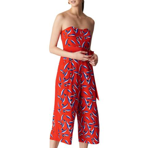 WHISTLES Red Lyza Print Silk Jumpsuit