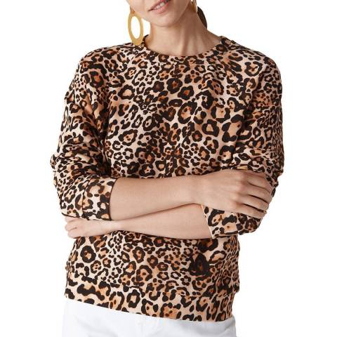 WHISTLES Leopard Print Cotton Sweatshirt