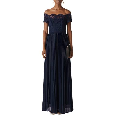 WHISTLES Navy Bardot Lace Maxi Dress
