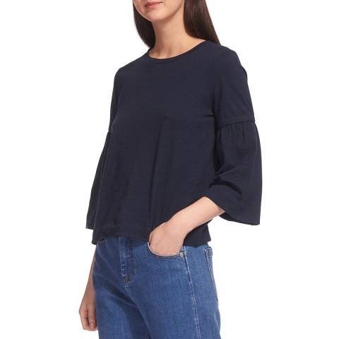 WHISTLES Navy Cotton Gathered Sleeve T-Shirt