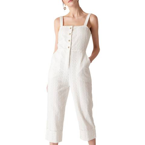 WHISTLES White Valerie Cotton Jumpsuit