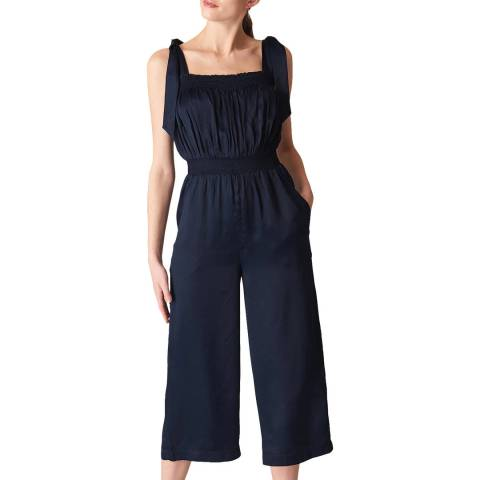 WHISTLES Navy Ally Tie Shoulder Jumpsuit