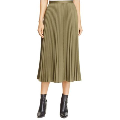 WHISTLES Khaki Kitty Pleated Satin Skirt
