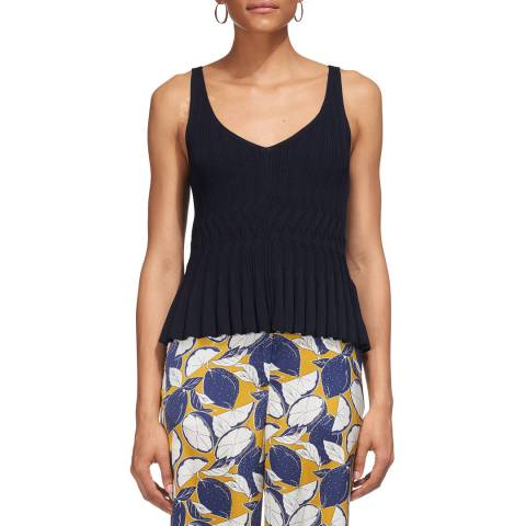 WHISTLES Navy Pleated Knitted Cami