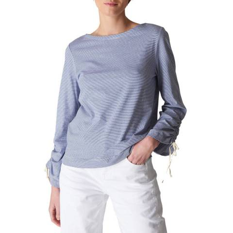 WHISTLES Multi Stripe Gathered Sleeve Top