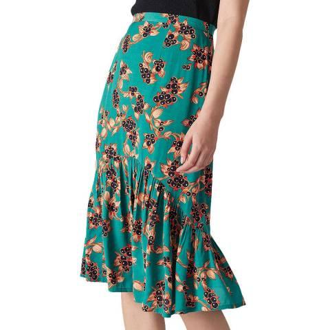 WHISTLES Green Capri Print Aida Skirt