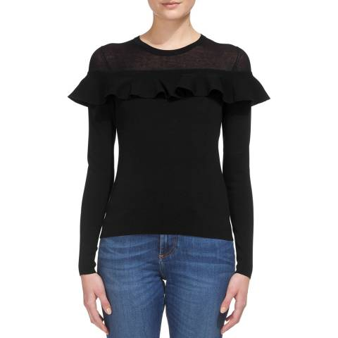 WHISTLES Black Frill Yoke Jumper