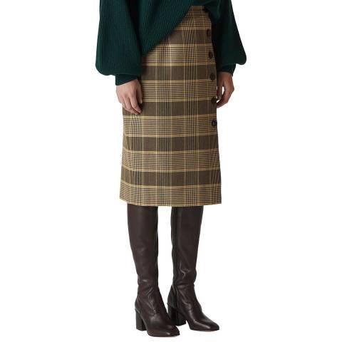 WHISTLES Multi Check Button Pencil Skirt