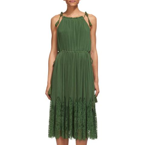 WHISTLES Green Lilian Pleated Lace Dress