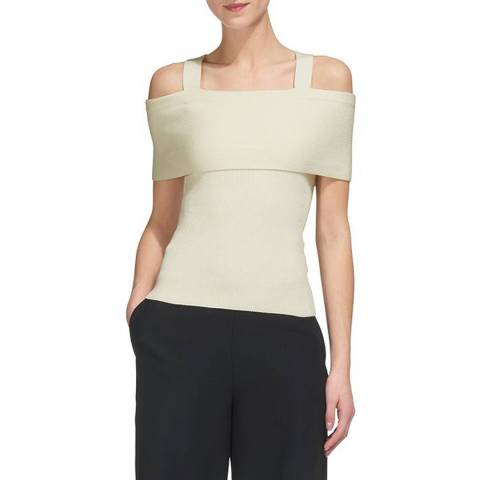 WHISTLES Ivory Double Strap Knit Top