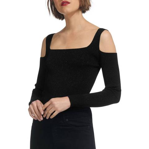 WHISTLES Black Sparkle Cold Shoulder Jumper