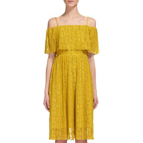 WHISTLES Yellow Off The Shoulder Dress
