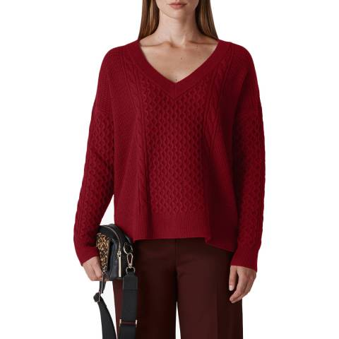 WHISTLES Red Cable V Neck Jumper