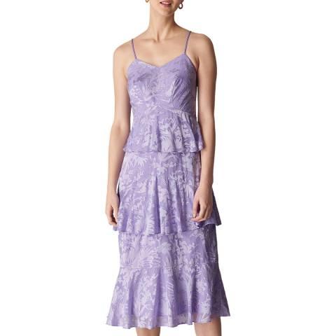 WHISTLES Lilac Luisa Satin Devore Dress