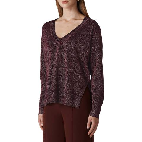 WHISTLES Pink V Neck Sparkle Jumper
